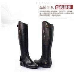 Hoge Kwaliteit Half Chaps Vol Zachte Koe Lederen Splicing Paardrijden Chaps Body Protector Paardensport Apparatuur Voor Unisex
