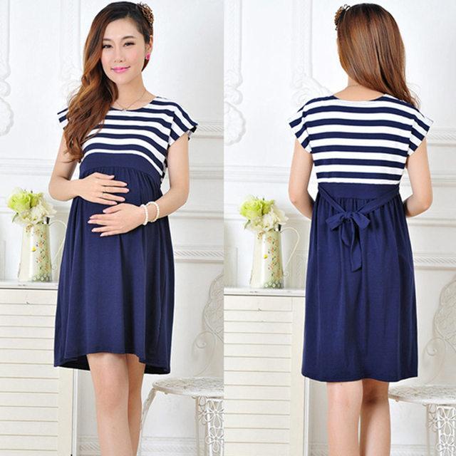 Mulheres De Algodão da listra Longo Vestidos Vestido de Enfermagem da Maternidade para As Mulheres Grávidas Gravidez Mãe vestido das Mulheres Roupa Em Casa L/XL