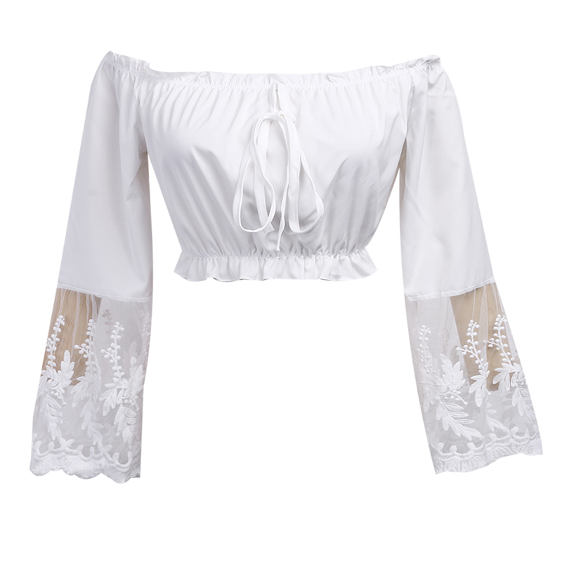 The Casual Évider D'été Manches Shows As À Femme Chemisier Femmes Élégant Blanc Blouse Longues Shirt Picture Dentelle Tops 2017 Blusas TxyqIIFASw