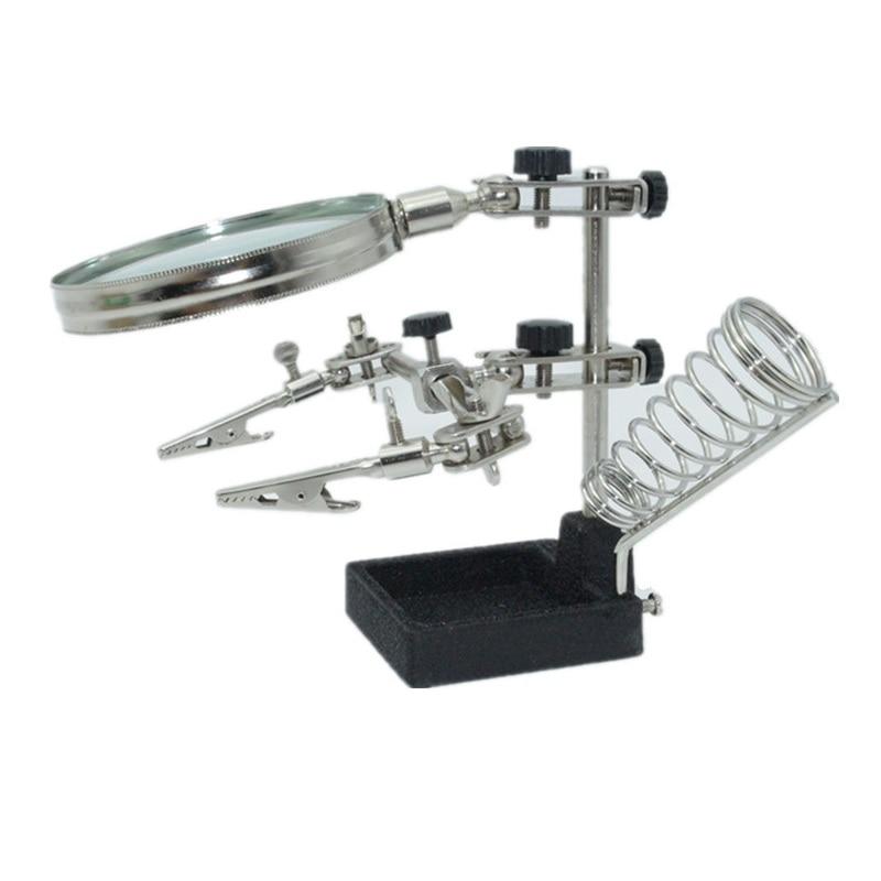 Lupe Third Hand Lupe, Multifunktions Hilft Reparatur Lupe Clip 4X Lötkolben Halter Tisch Vergrootglas