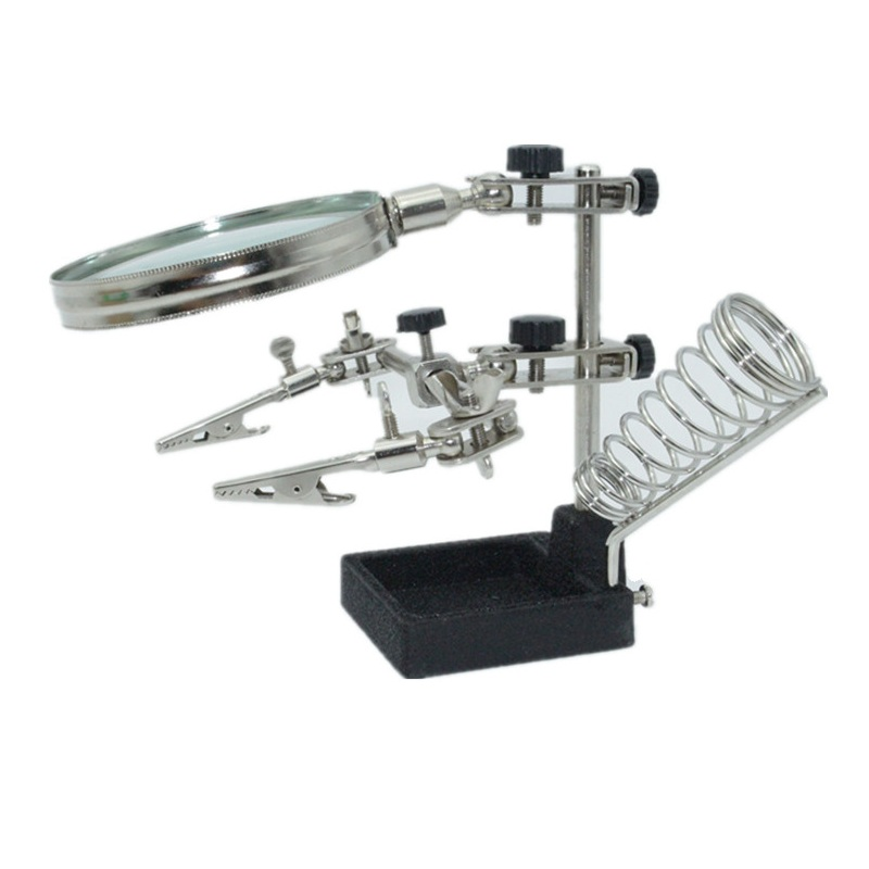 Magnifying Glass Third Hand Loupe,Multifunction Helping Repair Magnifier Clip 4X Soldering Iron Holder Table Vergrootglas helping third hand soldering stand w 2x magnifying glass