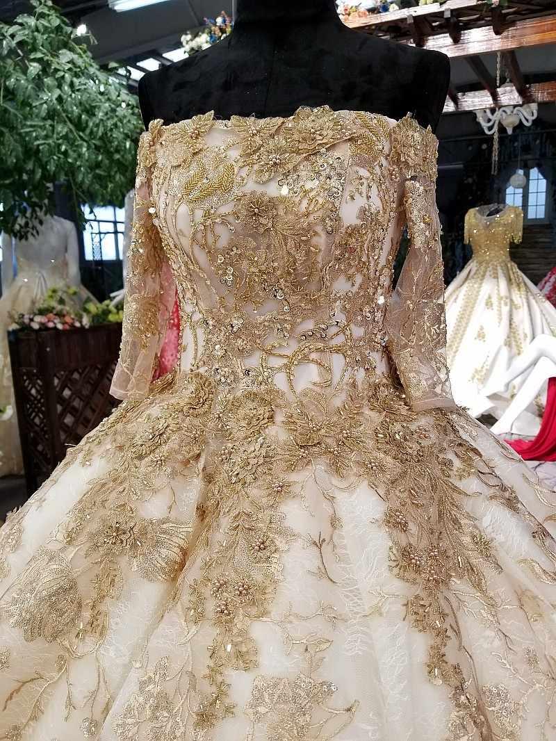 LS05656 с плеча свадебное платье аппликация шампанское кружево последней лодочной шапке платье платье зашнуровать свадебное платье 2018 из фарфора магазин