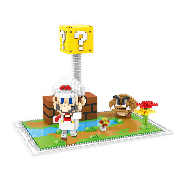 Super Mario Luigi Model Building Kits Toys Anime Cartoon Game Model Gift box Building Assembly Blocks Bricks for Children
