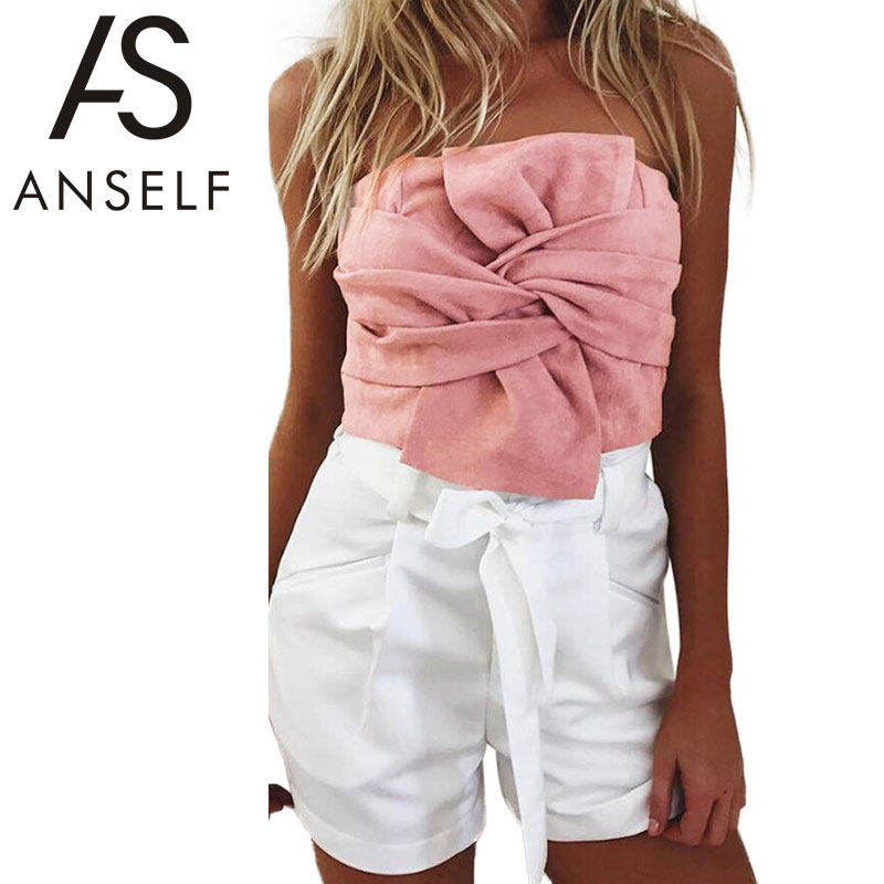 Anself Summer Women Suede Crop   Top   Bow Front Slash Neck Sleeveless   Tank     Top   Zipper Bustier Cropped Tube   Tops   Blusa Pink/Grey