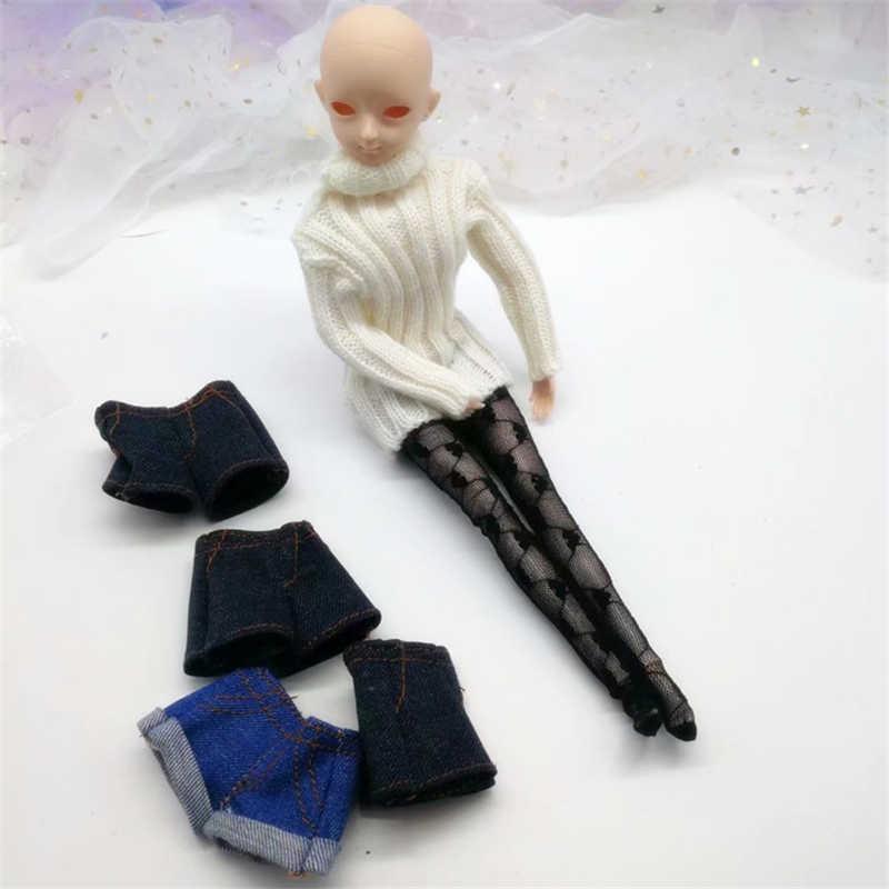 Yeni varış pantolon giysileri barbie bebek ipek çorap kot şort 1/6 bjd SD bebek elbise