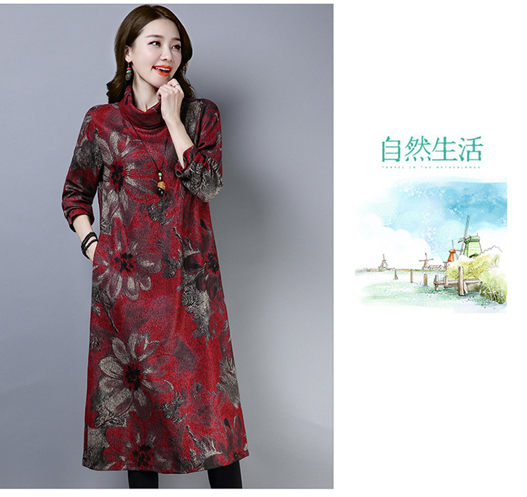 2019 New Women Spring Autumn Dresses Turtleneck Printed Female Long Sleeve Vintage Robe Dress Vestido 63