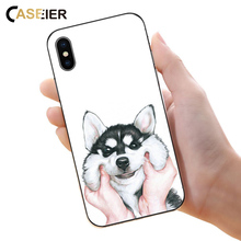 Caseier Cute Husky Case For iPhone 4 5 5s SE Soft Silicone Cover For Samsung Galaxy S9 S8 Plus Animal Cartoon Pattened TPU Capa
