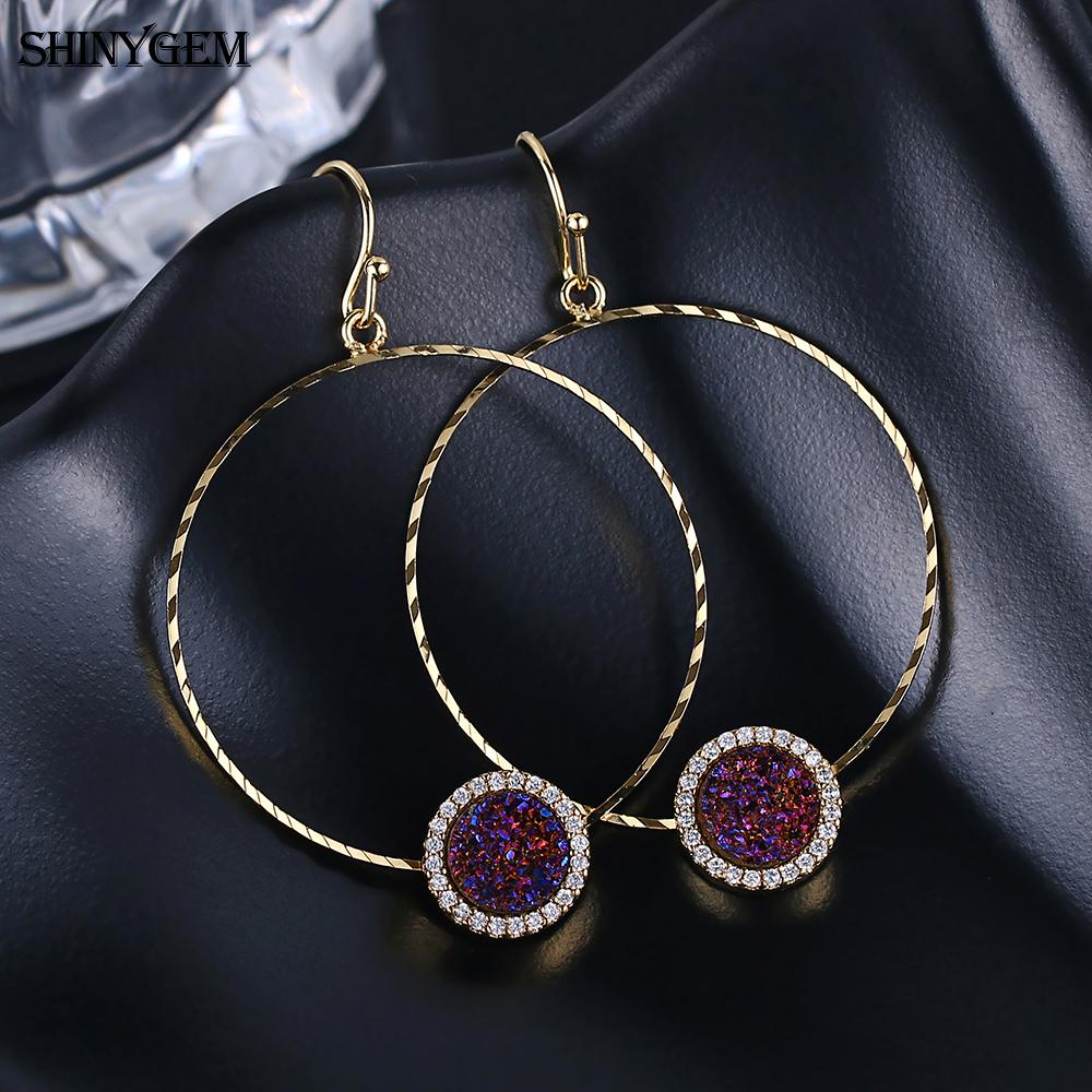 ShinyGem Large Circle Drop Earrings Sparkling Natural Druzy Earrings Twist Smooth Big Round Golden Gem Stone Earrings For Women in Drop Earrings from Jewelry Accessories