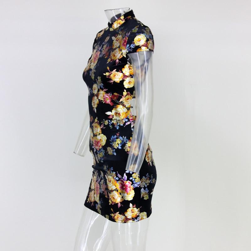 Back Tie Up Print Short Sleeve Mini Bodycon Dress 2