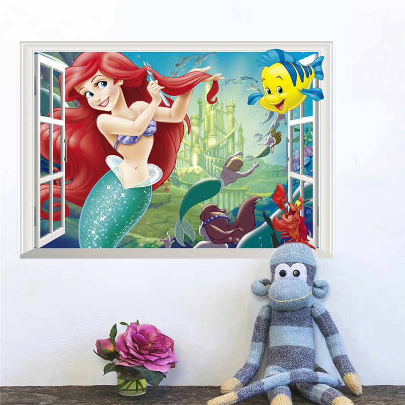 3d effect window Underwater animals Fish Princess Wall Sticker For Kids Rooms Bedroom Decor Wall Decal Poster Mural
