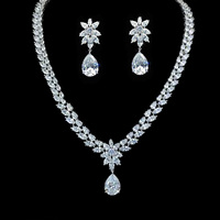 S420146 new elegant white drop zircon set zinc alloy rose gold color silver color with high quality zircon fashion wemon jewelry