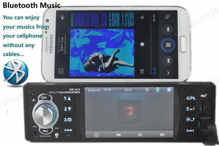 """サポートリアカメラ 4.1 """"TFT HD デジタル車 MP5 プレーヤーステレオ Fm ラジオオーディオ USB RDS 機能 bluetooth オーキシンタッチスクリーン"""