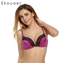 Ekouaer mulheres push up bra 3/4 xícara de sutiã sem costura sexy sutiãs de renda para mulheres roupa interior Ajustado straps 5 Cores Grande Copo A B C D E(China (Mainland))