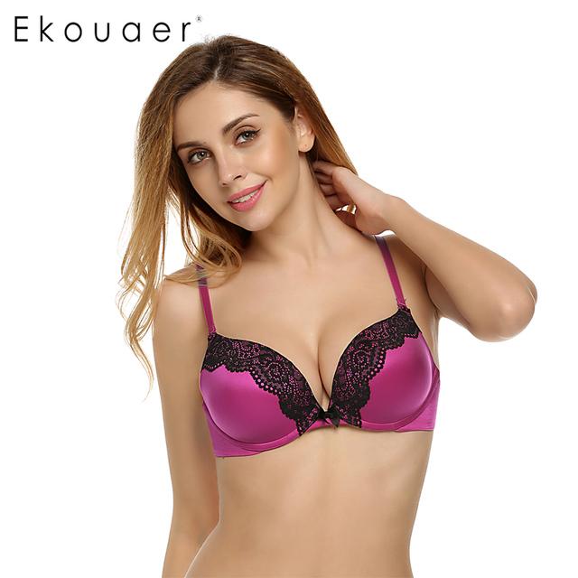 Ekouaer mulheres push up bra 3/4 xícara de sutiã sem costura sexy sutiãs de renda para mulheres roupa interior Ajustado straps 5 Cores Grande Copo A B C D E