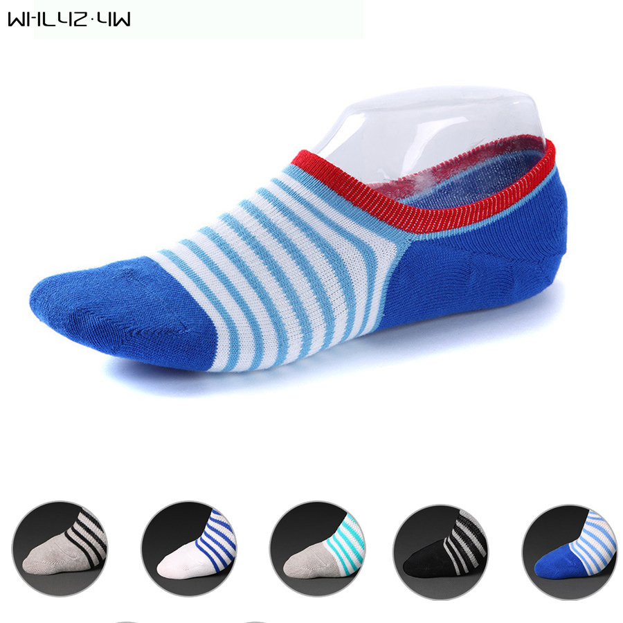 Whlyz yw 5 pairs hot sale fashion men boat invisible socks mesh no show nonslip liner