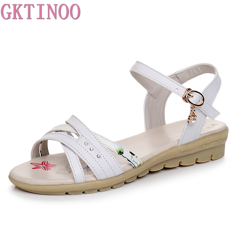 GKTINOO Plus size 34-43 New genuine leather sandals women shoes fashion flat sandals cow leather summer rhinestone ladies shoes gktinoo genuine leather sandals women flat heel sandals fashion summer shoes woman sandals summer plus size 35 43 free shipping