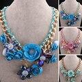 Três cores moda jóias colar 46 CM 8 CM resina de ouro caixa de presente bolsas n017
