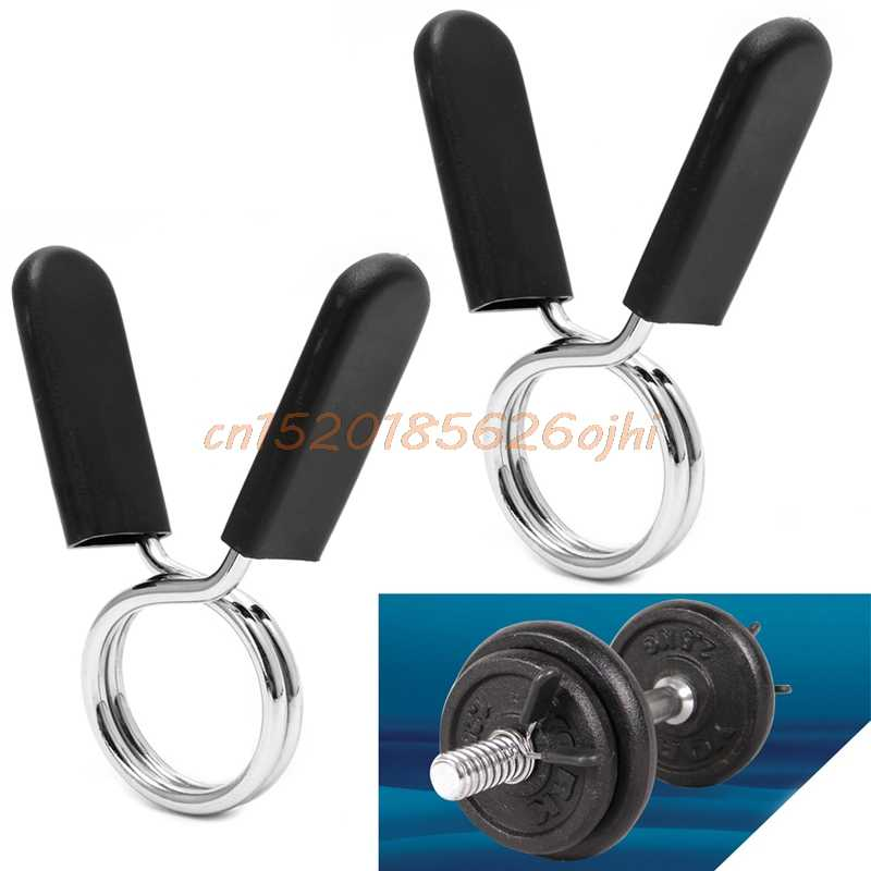 2x Standard Barbell Bar Clamps Spring Collar Clips Gym Weight Dumbbell Lock 30mm