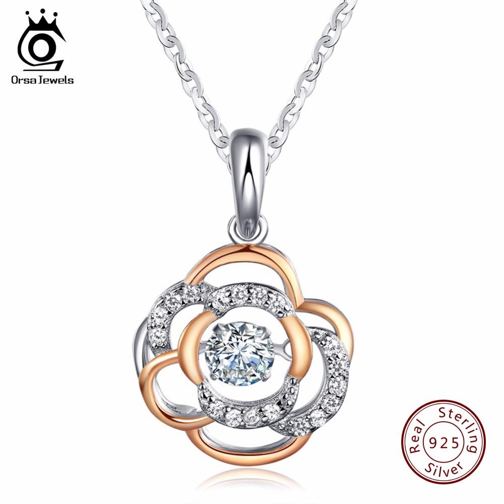 orsa jewels 925 sterling silver flower pendant necklace. Black Bedroom Furniture Sets. Home Design Ideas