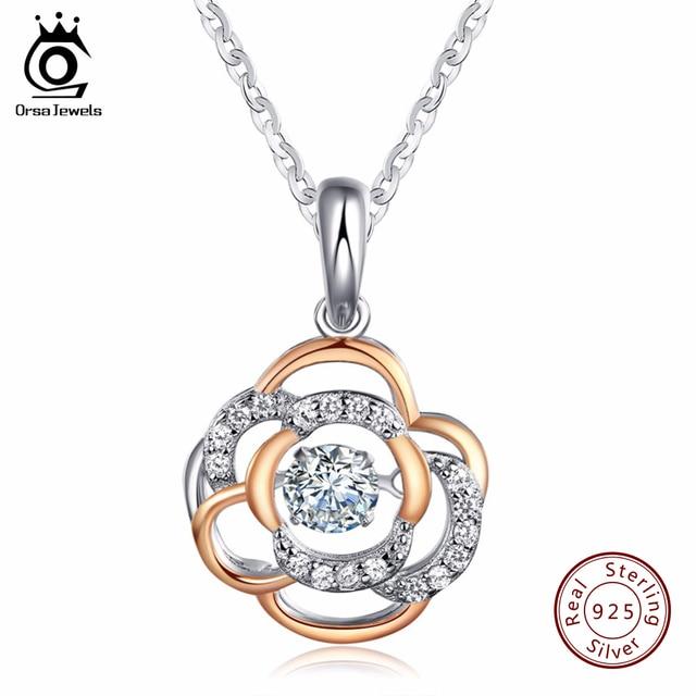 Orsa jewels 925 sterling silver flower pendant necklace with 03 ct orsa jewels 925 sterling silver flower pendant necklace with 03 ct shiny cubic zirconia mixed rose aloadofball Choice Image