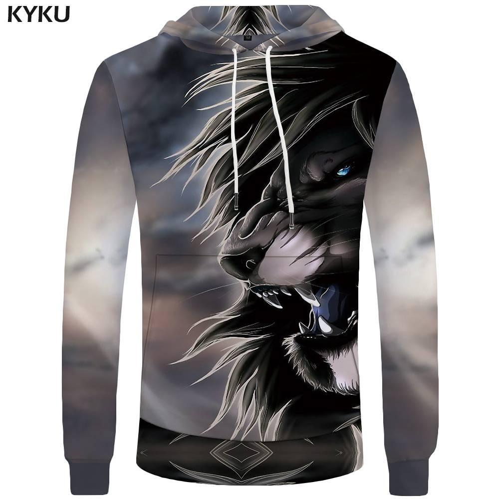KYKU Lion Hoodies Men Animal Mens Clothing Anime Hoddie Sweatshirts Pocket Big Size 3d Hoodies Hoodie Funny Anime Clothes