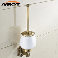 Toilet Brush Holders Antique Brass Wall Mount Brush Holder Ceramic Toilet Bowl Clean Bathroom Accessories WC