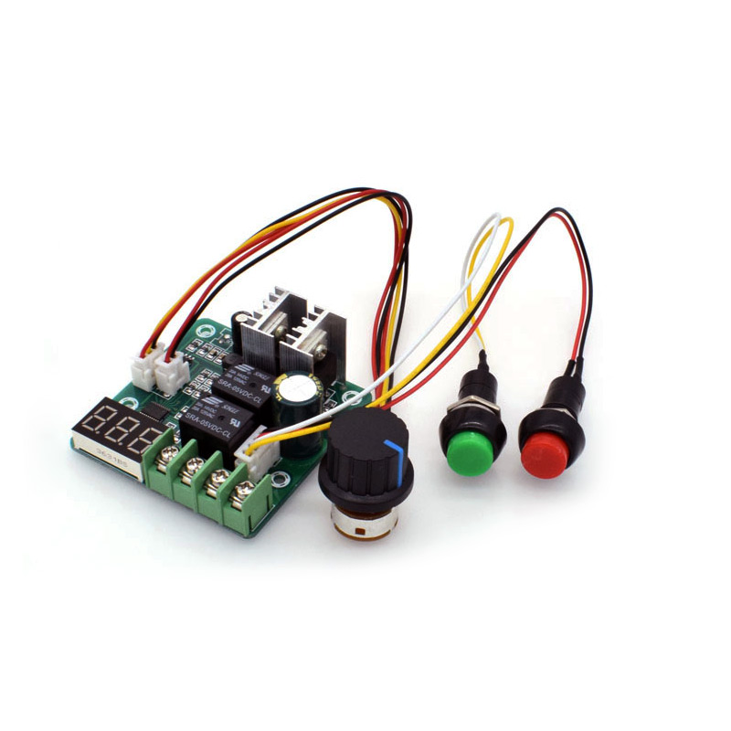 PWM dc motor speed controller 10A CW CCW Self reset digital display 0~100% adjustable drive module Input 6V~55V dc 10 55v cw ccw reversible switch 12 24 36v 40a pwm motor speed controller regulator w led digital display for dc brush motor
