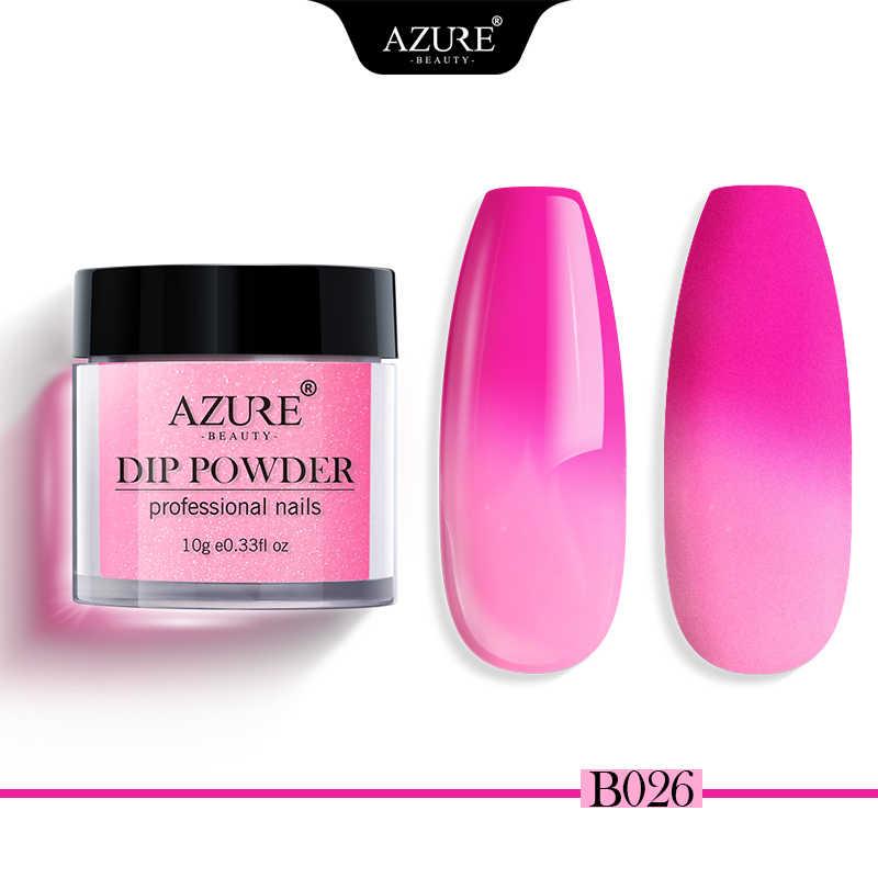 Azure Kecantikan Suhu Perubahan Warna Mencelupkan Bubuk Termal Perubahan DIP Glitter Basis Gel Atas untuk Kuku Seni Alam Dry 6 warna