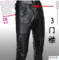 Teenage spring and autumn pu motorcycle faux leather pants men trousers high quality pants for men slim patchwork black casual