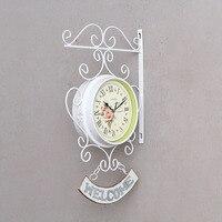 European Style Wall Clock Home Decor Figurines White Iron WELCOME Wall Clock Modern Fashion Home Bar Corridor Decorations Gifts