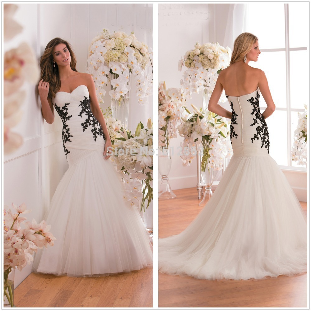 Strapless sweetheart mermaid tulle ivory black lace for Black wedding dress mermaid