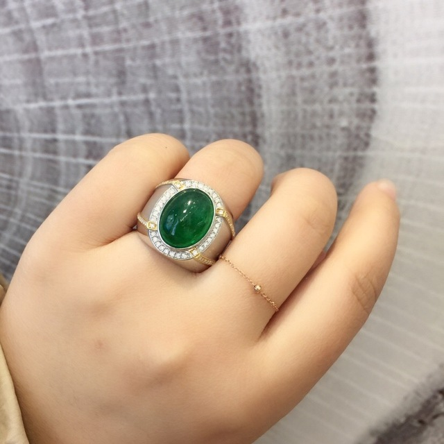 Fine Jewelry Real Pure 18 K White Gold Jewelry Real Natural Vivid Green 8.63ct Emerald Gemstones Male Rings for Men's Fine Ring