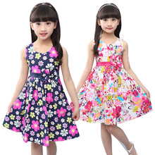 Big Girls Summer Sleeveless Dress Floral Print Print Princess Dress Knee Length A-line Flared Sundress for Kids Children Teens цена 2017