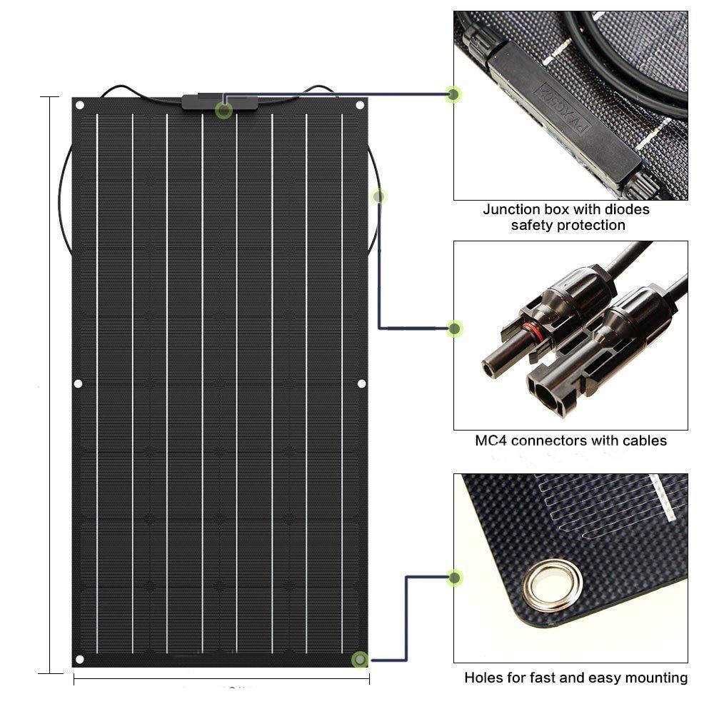 Panel solar Flexible 100W 200w 300w 400w 12V panel solar cargador de batería solar monocristalino de celular para kit de sistema doméstico de 1000w