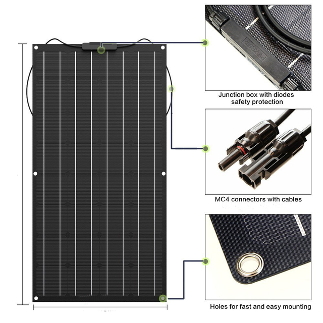 Solar Panel 100W 200w 300w 400w Flexible 12V battery charger Monocrystalline solar cell for 1000w solar battery system kit china