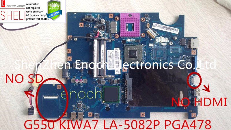 KIWA7 LA-5082P motherboard for Lenovo G550 REV:2.0 No HDMI 100% working SHELI все цены