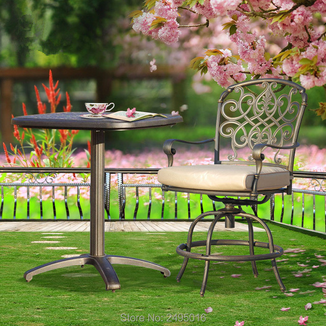 3 Piece Table With Two Chairs Cast Aluminum Patio Furniture Garden Outdoor Bar Chair