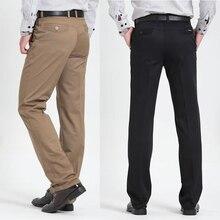 Мужские повседневные штаны, фирменные Классические длинные брюки, прямые, хлопковые, для деловых мужчин, плотные, коммерческие, большие размеры 40, 42, брюки