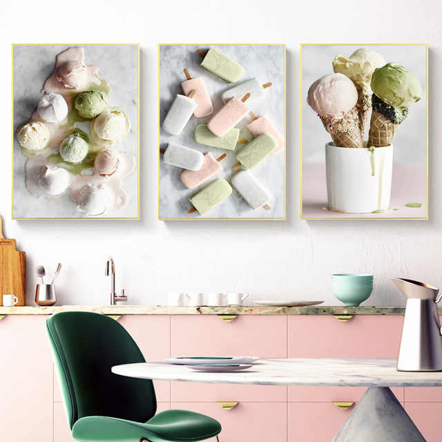 Nordic Delicious Ice Cream Canvas Painting Posters And Prints Wall Pictures For Kitchen Baking Coffee Shop Wall Art Home Decor
