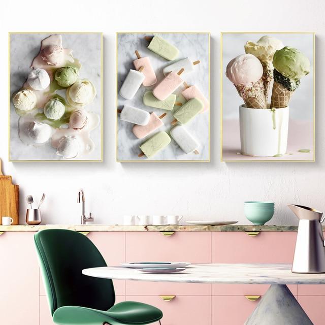 Nórdico Delicious Ice Cream lienzo pintura pósters e impresiones cuadros de pared para cocina horneado cafetería pared arte decoración para el hogar Gran tamaño hecho a mano cuchillo grueso pintura al óleo abstracta oro gris blanco precioso pintura abstracta pintura al óleo de decoración para el hogar en lienzo