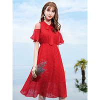Sexy Open Shoulder Tulle Patchwork Polka Dot Chiffon Dress for Women Elegant Ladies Butterfly Ribbon Collar Flare Sleeve Dresses