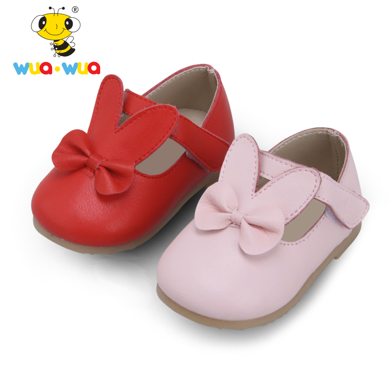 Wua Wua Cute Baby Girl Princess Shoes Soft Sole First Walker For Newborn Non-slip Infant Leather Shoes Toddler Girl First Walker