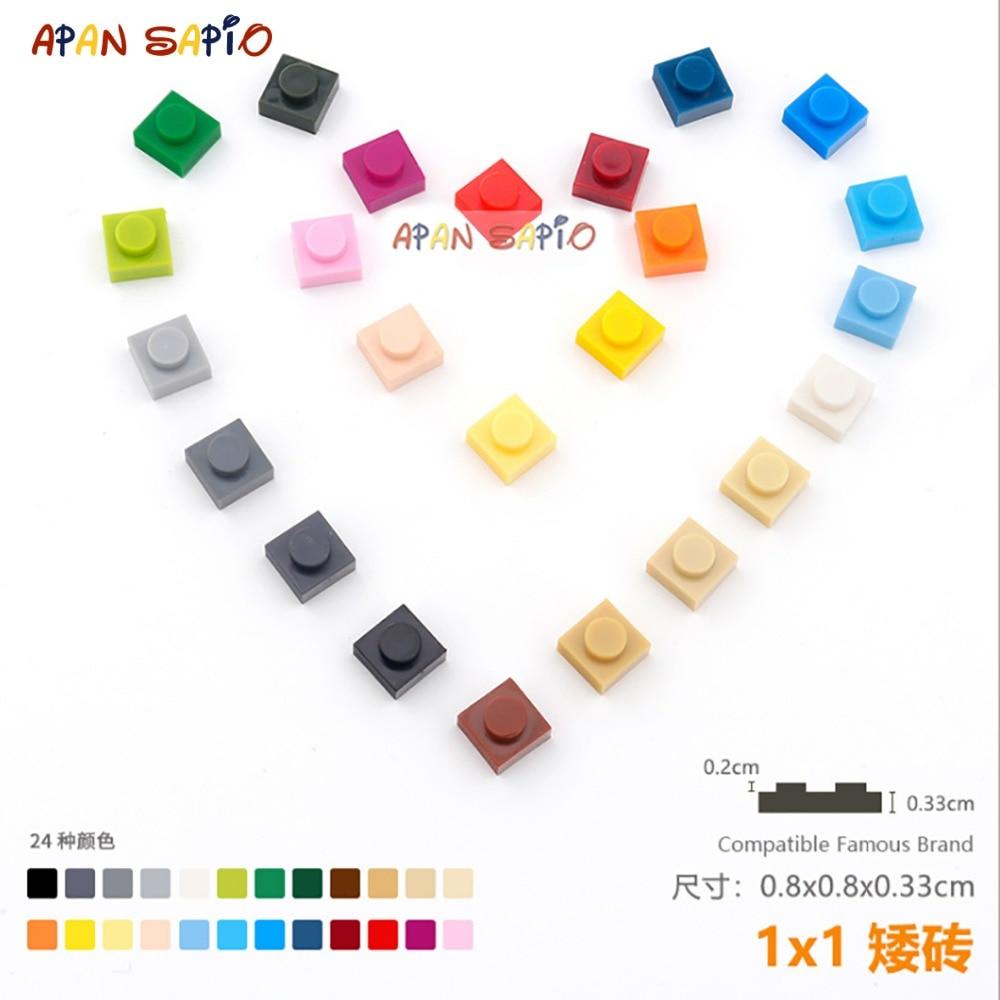 100 шт./лот DIY блоки Строительные блоки тонкие 1x1 Обучающие сборные строительные игрушки для детей размер совместим с lego