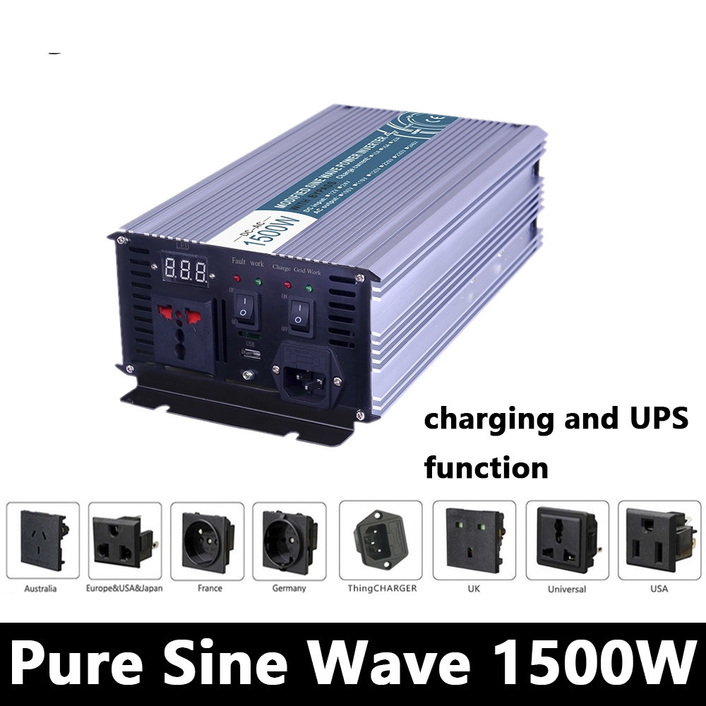 1500W Pure Sine Wave Inverter,DC 12V/24V/48V To AC110V/220V,off Grid power Inverter with charger and UPS,Solar inverter for home maylar 22 60vdc 300w dc to ac solar grid tie power inverter output 90 260vac 50hz 60hz