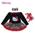 Leopardo vestido de Baile Da Menina Bodysuit Macacão 3 pcs Set para 0-dois anos Tutu Presente de Casamento Roupas de Primavera com Plissado Rendas de Algodão Z529