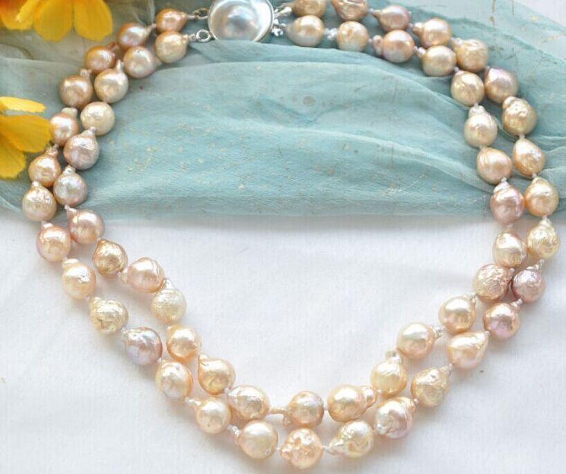 LIVRAISON GRATUITE >>>@@> N1976 double brins 13-15mm or rose perle collier
