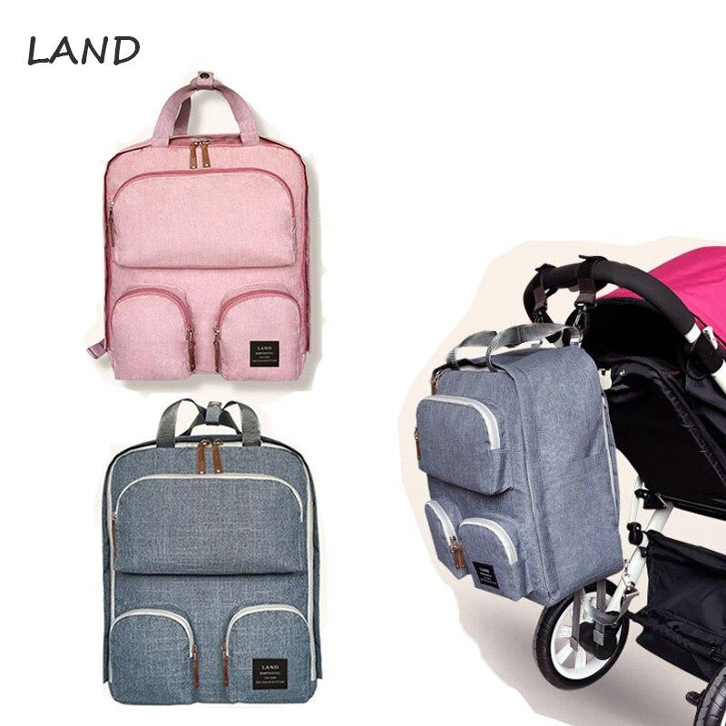 LAND Diaper Bag Backpack Multi-functional Large Capacity Maternity Bag For Baby Care Waterproof Diaper Bag Baby Bags For Mom