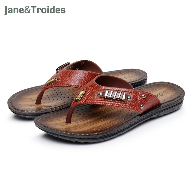 a6f9a59dbf8d9 Summer Cool Men PU Leather Flip Flops British Style Boardered Beach Sandals  Male Slippers Zapatos Hombre