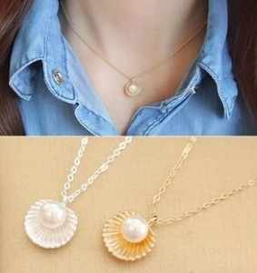 2019 Hot Fashion Minimalist Temperament Imitation Pearl Shell Shaped Pendant Chokers Necklace For Women Jewelry Clavicle Chain