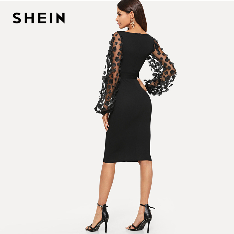 SHEIN Black Party Elegant Flower Applique Contrast Mesh Sleeve Form Fitting Belted Solid Dress Autumn Women